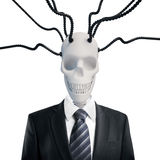 Skull in suit with wires Royalty Free Stock Photography