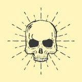 Skull with sunburst isolated on white background vector Royalty Free Stock Photos
