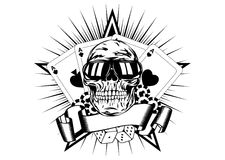 Skull in sunglasses playing cards dice chips Stock Photo