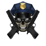 Skull with sunglasses in a police cap and pistol Stock Images