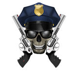 Skull with sunglasses in a police cap and revolver Royalty Free Stock Photos