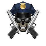 Skull with sunglasses in a police cap and silver pistol Royalty Free Stock Photo
