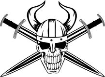 Skull and sword. Skull in helmet of Viking with the crossed swords Royalty Free Illustration