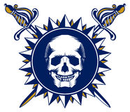 Skull sword emblem Royalty Free Stock Images