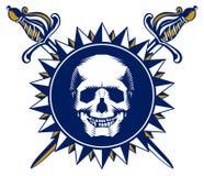 Skull sword emblem Royalty Free Stock Images