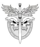 Skull with sword and shield Stock Photo