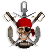 The skull with swords and anchor Stock Photography