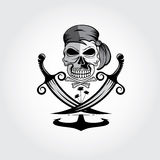 skull with swords,anchor and palms Royalty Free Stock Images