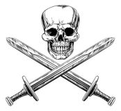 Skull and Swords Pirate Sign Royalty Free Stock Photography