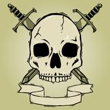 Skull with swords woodcut Stock Images
