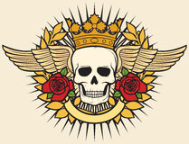Skull symbo. Laurel wreath, roses and banner Stock Photo