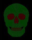 Skull symbol green red radial dot pattern Stock Images