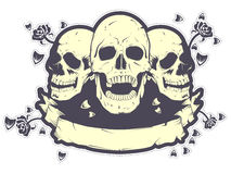 Skull T Shirt Design. An illustration of three skulls and a blank banner for custom use Royalty Free Stock Image