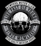 Skull T shirt Graphic Design Motorcycle club Royalty Free Stock Photography