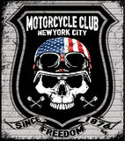Skull T shirt Graphic Design Motorcycle Club Royalty Free Stock Images