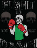 Skull T shirt Graphic Design Vintage Boxing Gloves vector illust Royalty Free Stock Photography