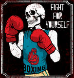Skull T shirt Graphic Design Vintage Boxing Gloves vector  Stock Photos