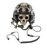 Skull in tank drivers helmet. Human skull in decorated tank drivers helmet, isolated on white background royalty free stock image