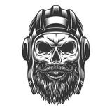 Skull in the tank helmet royalty free illustration
