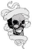 Skull tatto and ribbon Stock Photography
