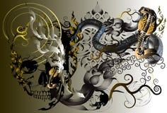Skull and tattoo art. Skull graphic stripes stripes Thailand creative imagination. The darkness of death, tattoo art ethos line thai royalty free illustration