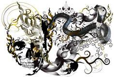 Skull and tattoo art. Skull graphic stripes stripes Thailand creative imagination. The darkness of death, tattoo art ethos line thai vector illustration