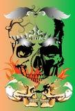 Skull and tattoo art. Skull graphic stripes stripes Thailand creative imagination. The darkness of death, tattoo art ethos line thai stock illustration
