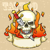 Skull Tattoo Design. Grunge effect is removable Stock Images