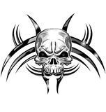 Skull tattoo design isolate. On white Royalty Free Stock Photography