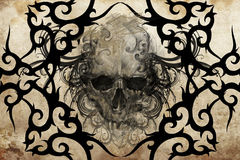 Skull. Tattoo design over grey background Royalty Free Stock Photo