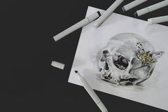Skull tattoo sketch royalty free stock images