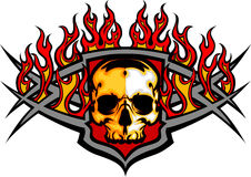 Skull Template with Flames Image. Graphic skull image template with flames Stock Photos