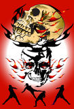 Skull and thai kick. Ideas creative concepts, graphic death. Skull and darkness The heat of the fire and burning of the eyes, dark mysteries latent horrors Royalty Free Stock Image