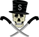 Skull thug. Vector skull wearing a black hat and and possessed two swords Stock Photos