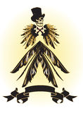 Skull with top hat and feather Royalty Free Stock Photos