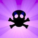 Skull toxin symbol light flare Stock Images
