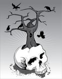 Skull with Tree and Crows Stock Photos