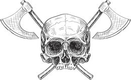 Skull and two axes Royalty Free Stock Image