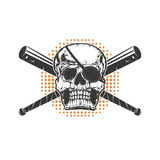 Skull with two crossed baseball-bat Stock Image