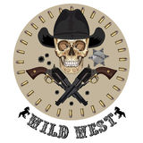 Skull and two crossed gun, Wild West design Royalty Free Stock Photo