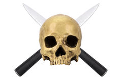 Skull with two crossed knives Royalty Free Stock Photos