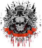 Skull with two heraldic lions Stock Photos