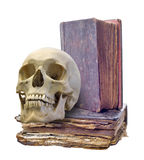 Skull and two old books on white Royalty Free Stock Image