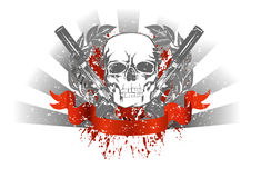 Skull with two pistols. Vector image skull with two pistols and red ribbon Stock Photo