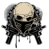 Skull and two pistols. With grunge background.Design element in vector royalty free stock images