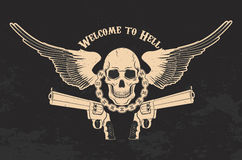 Skull and two pistols. Welcome to Hell. Skull with two revolvers on grunge background. T-shirt print template royalty free stock photography