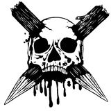 Skull with two stakes Stock Photo