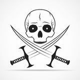Skull and two swords. Vector illustration Royalty Free Stock Photos