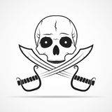 Skull and two swords. Vector illustration Stock Images