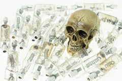 Skull and use lamp Royalty Free Stock Photography